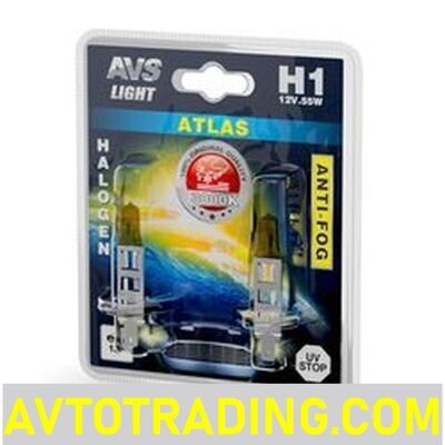 Авто лампа 12V H1 55w ATLAS ANTI-FOG (АНТИТУМАН, желтые, 2шт.)